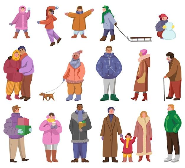 야외에서 겨울 겉옷을 입은 사람들. 다른 남자, 여자, 어린이, 커플의 집합입니다. 평면 벡터 일러스트 레이 션의 컬렉션입니다. 컬러 만화 클립 아트 흰색 배경에 고립입니다.