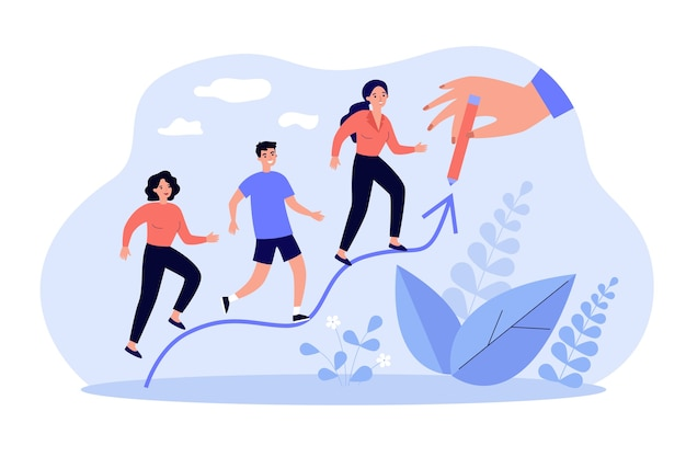 People increasing on hand drawn arrow line isolated in flat design
