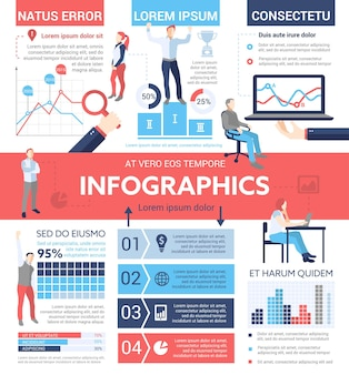 People infographics - info poster, brochure cover template layout with   icons, other information elements and filler text