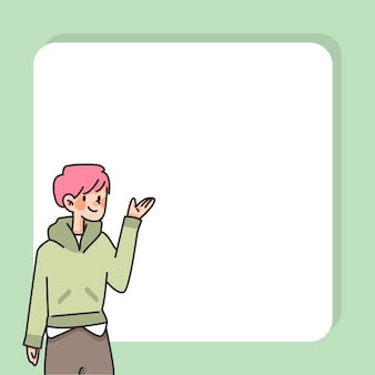 People insert text cute cartoon character note text space
