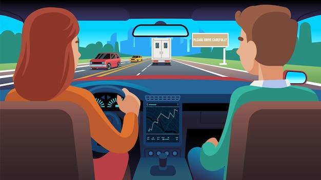 Люди в машине. водитель и пассажир едут по дороге в город, женщина за рулем автомобиля по шоссе с помощью навигатора, плоские векторные мультипликационные персонажи вид сзади на городской пейзаж