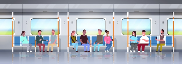 People inside subway metro train mix race passengers sitting in public transport concept horizontal flat full length