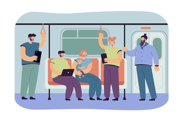 People inside subway or underground train flat illustration. cartoon passengers using metro or tube as public transportation