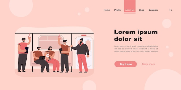 People inside subway or underground train landing page in flat style