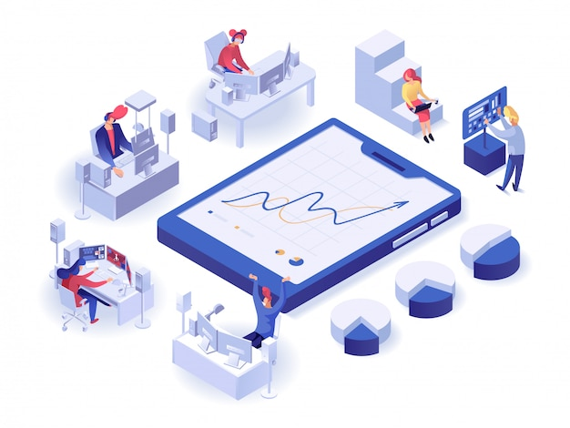 People interacting with charts isometric poster