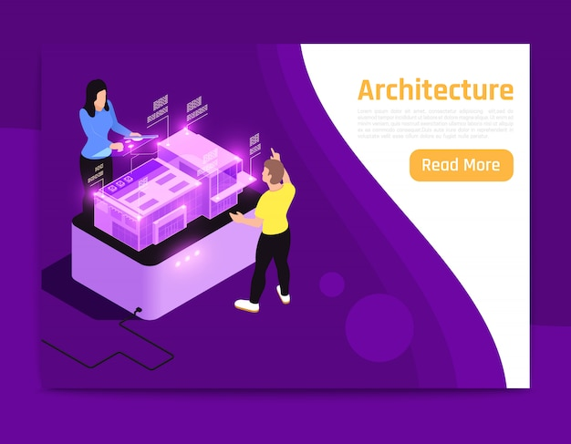 People and interfaces glow isometric composition banner architecture description with two people on work vector illustration