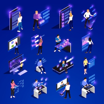 People and interfaces glow isometric icon set with cloud interfaces vr abstract smart elements vector illustration