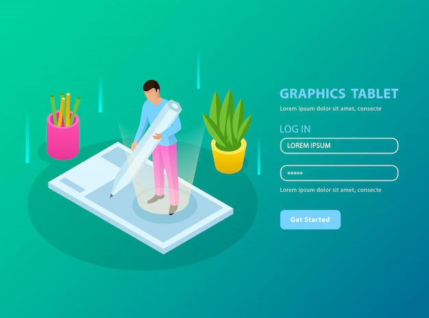 People and interfaces isometric composition with registration form and graphic tablet description illustration