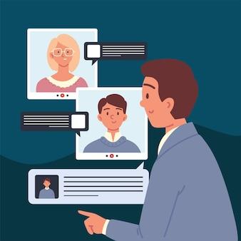People interview talk on video call cartoon