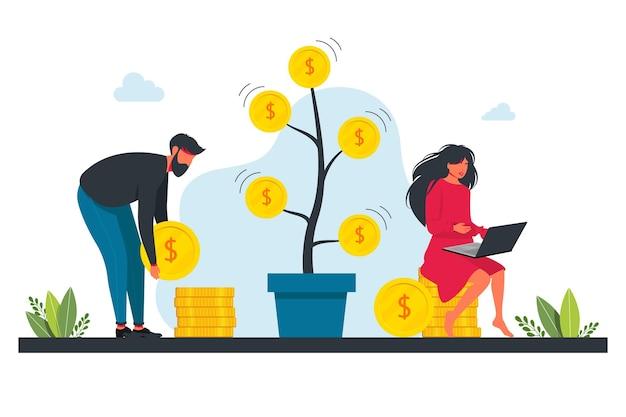 人々は株式市場、収入、上昇率、利益、若い世代に投資します。投資、お金、金融の概念。収入の概念。お金を持つ若い男と女。巨大なコインを持っている2人のキャラクター
