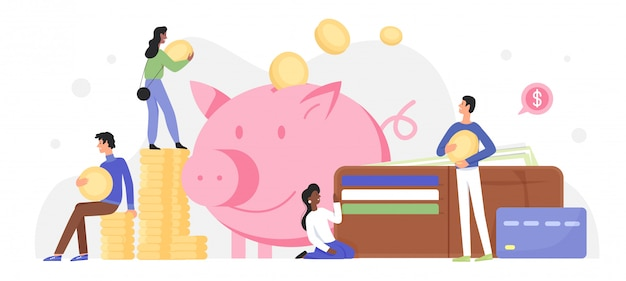 People invest money in piggy bank  illustration. cartoon  tiny characters investing golden coins and banknotes in happy pig moneybox, success business investment concept  on white