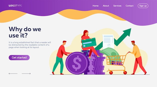 People investing their money in venture fund landing page template