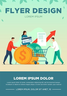 People investing their money in venture fund vector illustration. business people financing high potential company innovation. money transaction flyer template