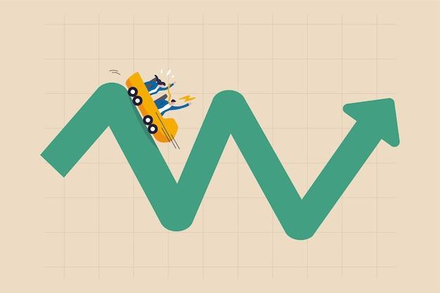 Люди инвесторы катаются на американских горках на колеблющемся графике рынка