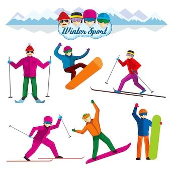 겨울 스포츠에 관련된 사람들. 휴가 여자와 남자, 스키와 레저, 극단적 인 레크리에이션 그림. 플랫 스타일의 벡터 문자