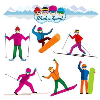 People involved in winter sport. vacation woman and man,  skier and leisure, extreme recreation illustration. vector characters in flat style