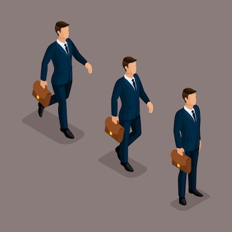 People isometric 3d, isometric business, business man clothing movement, in a hurry, is worth it. the sophisticated concept isolated