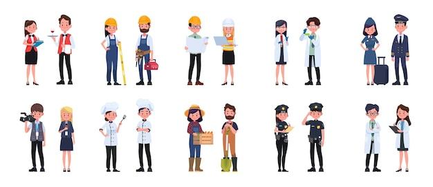 사람들이 직업 캐릭터 남자와 여자 세트, 그림 만화 캐릭터.