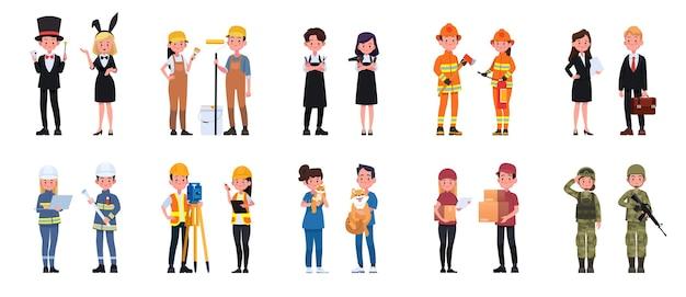 人々の仕事のキャラクターの男性と女性のセット。