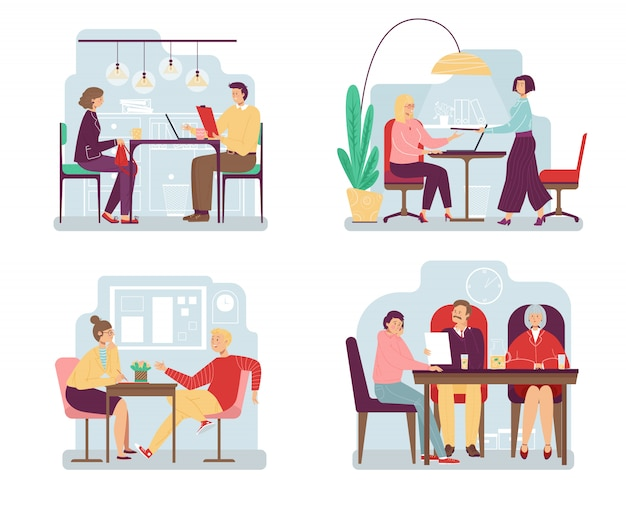 People at job interview, different behavior cartoon characters,  illustration