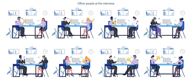 People on a job interview set. idea of business company and conversation with employee. candidate for a job. employment and recruitment.