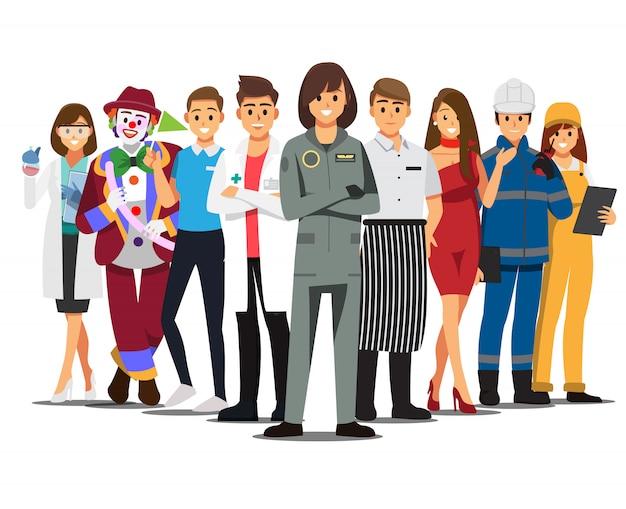 Набор работы люди, персонаж мультфильма иллюстрации.