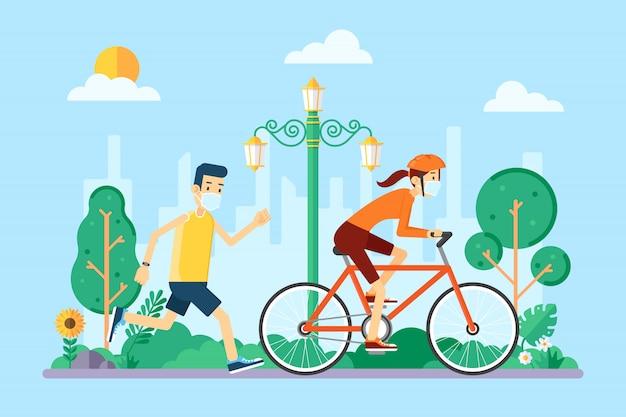コロナウイルスと新しい正常のためにマスクを着て自転車をジョギングして乗っている人