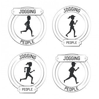 People jogging labels