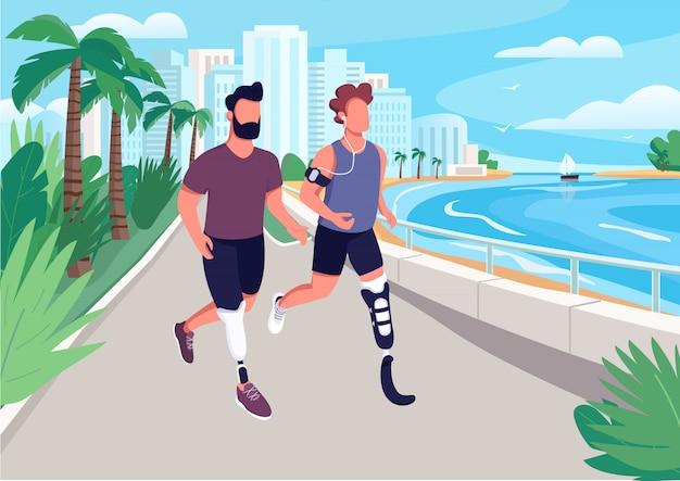 People jogging on seafront flat color illustration