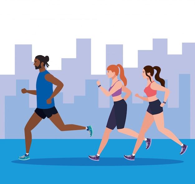街並みとジョギングしている人、屋外を走っている人、イラストデザインをジョギングしているスポーツウェアの人