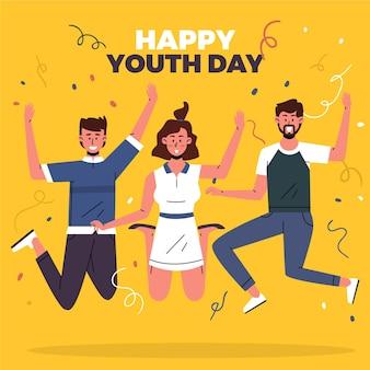 若者の日にジャンプする人々