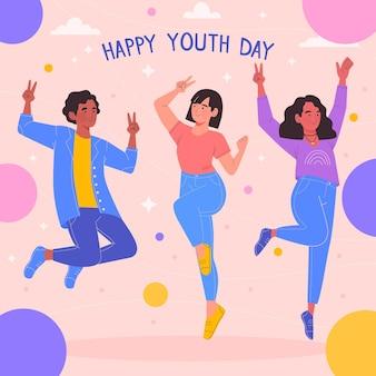ジャンプして若者の日を祝う人々