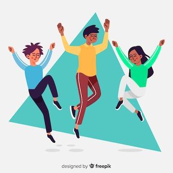 People jumping artistic illustration