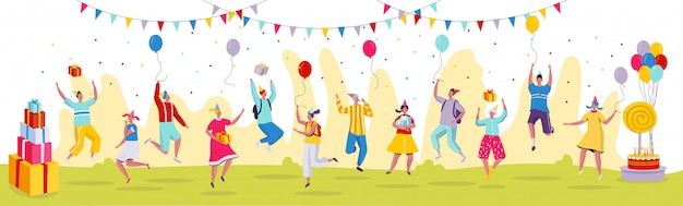 People jumping at birthday party celebration,  illustration. funny cartoon characters in modern flat style, birthday presents.