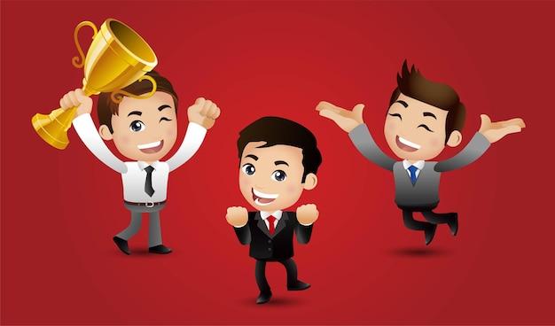 成功の達成を祝ってジャンプする人々