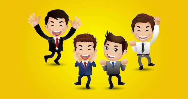 成功の達成を祝うジャンプする人々