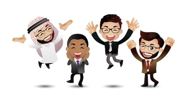 성공 성취를 축하하는 점프하는 사람들