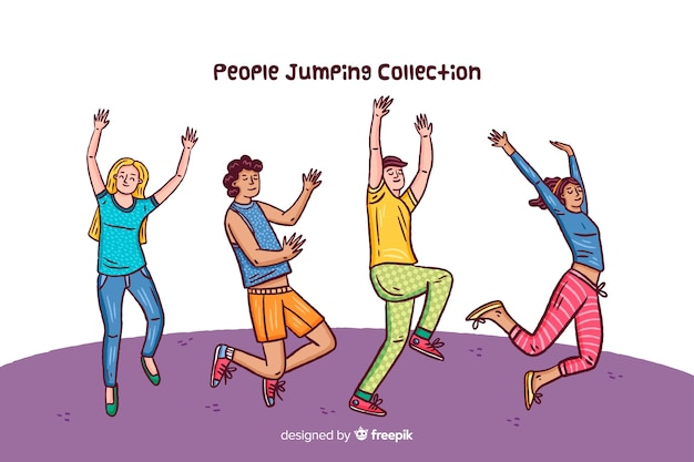 People jumping collection