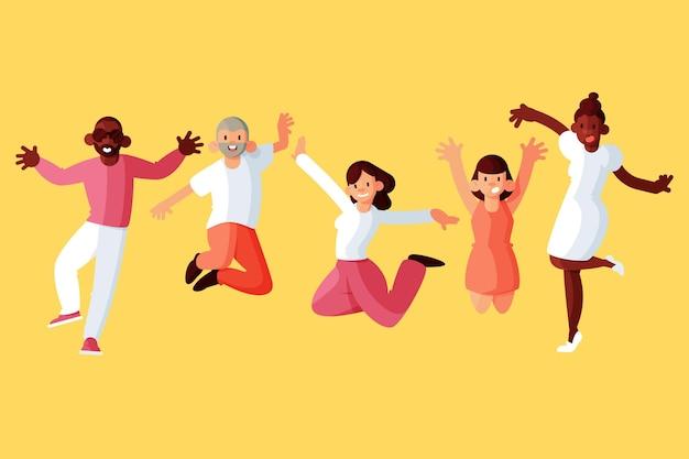 Люди прыгают в день молодости cocnept