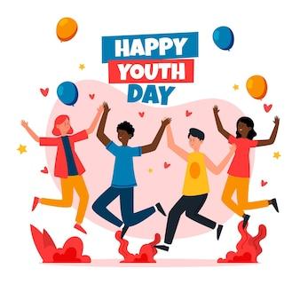 若者の日の概念にジャンプする人々