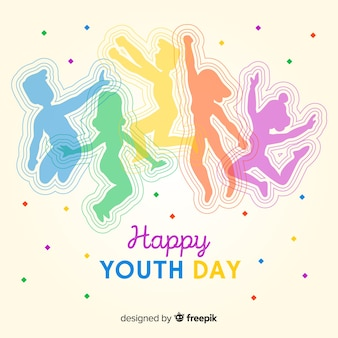 People jumping silhouette youth day background