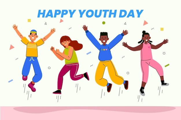 Люди прыгают во время празднования дня молодежи
