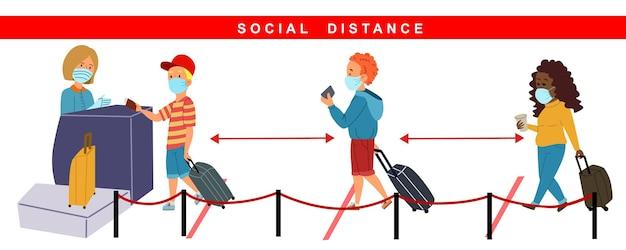 사람들은 체크인 시 공항에서 거리를 유지합니다. 전염병 및 covid-19 기간 동안 여행하십시오. 흰색 격리 된 레이어에 평면 스타일의 벡터 일러스트 레이 션