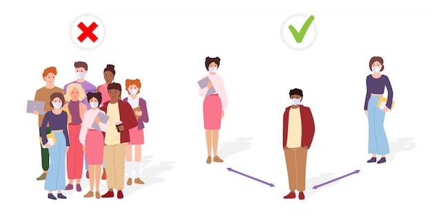 사람들은 사회적 거리를 유지합니다. 그룹으로 서 있지 마십시오. 거리, 감염 위험을 유지하는 학생. 의료용 마스크로 코로나 바이러스 예방