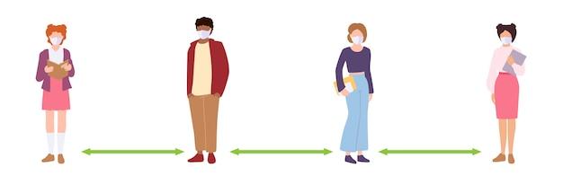 사람들은 사회적 거리를 유지합니다. 거리, 감염 위험 및 질병을 유지하는 가면을 쓴 학생. 의료용 마스크로 코로나 바이러스 예방