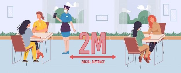 人々はカフェで2メートルの社会的距離を保ちます