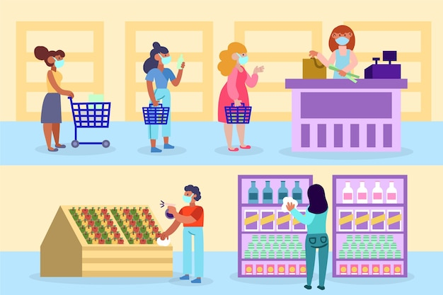 Люди держат дистанцию в супермаркете