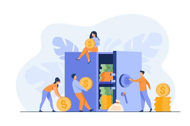 Люди хранят деньги в банке, защищают сбережения в сейфе. векторная иллюстрация для безопасного финансирования, депозита, инвестиций, концепции безопасности