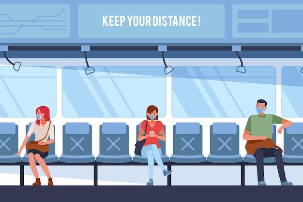 公共交通機関で社会的距離を保つ人々