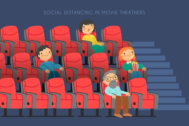 People keeping social distance in movie theatre
